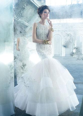 dress jewels white dress wedding dress mermaid wedding dresses lace top dress ruffle