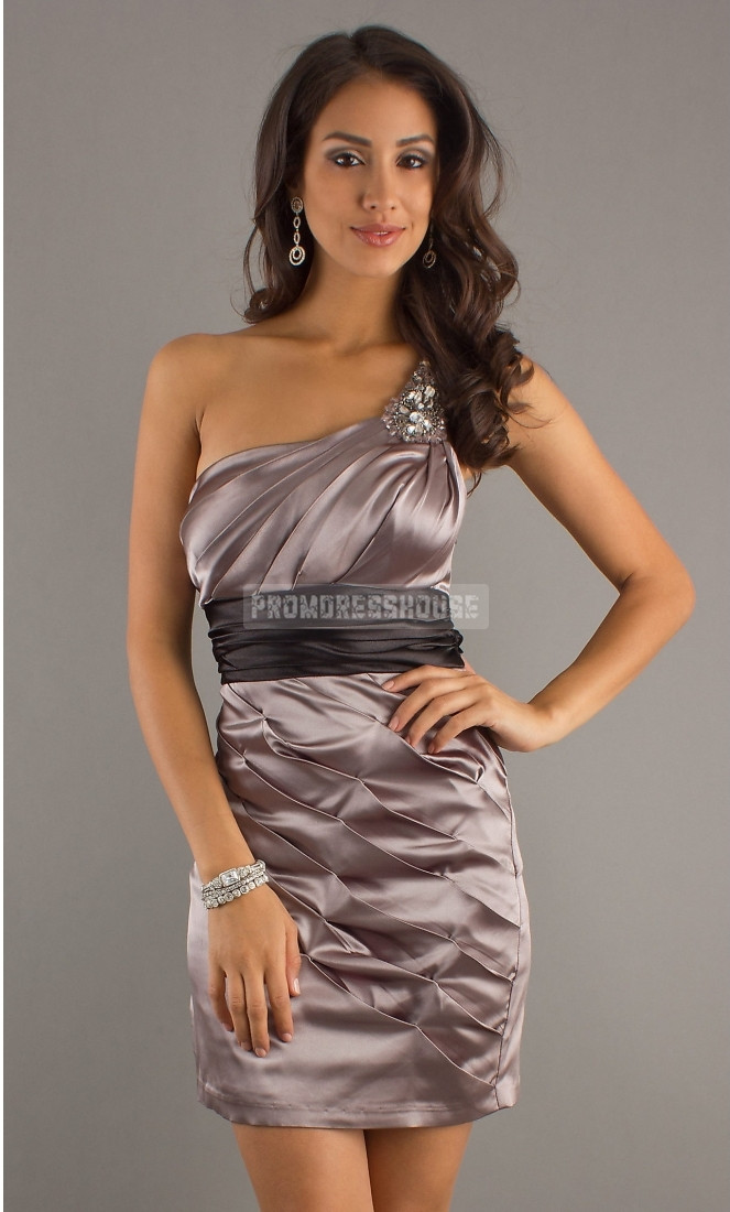 Elastic Satin Column -like Silver One Shoulder Keyhole Back Prom Dress - Promdresshouse.com