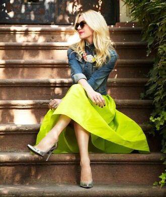 skirt sunshine sunglasses jacket denim jacket yellow sandals silver gorgeous beautiful shoes