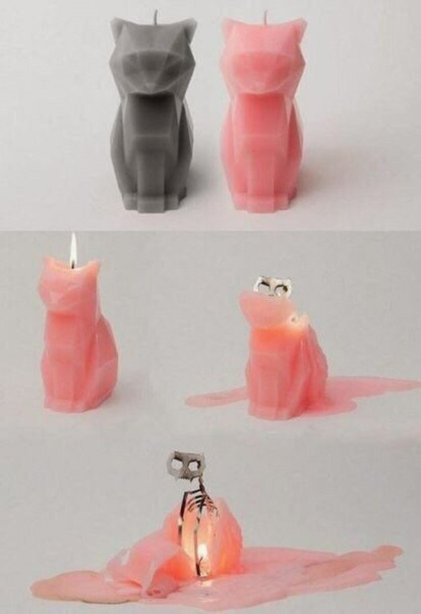 home accessory cats cat candle candle pink grey pink cat grey cat wax cats halloween