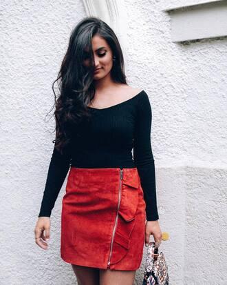 skirt tumblr mini mini skirt red skirt ruffle zip zipped skirt top black top off the shoulder off the shoulder top