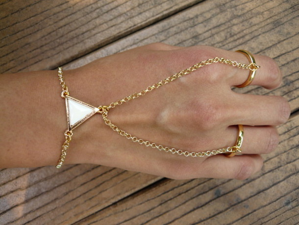 Jewels ring chains bracelet chains triangle gold chain