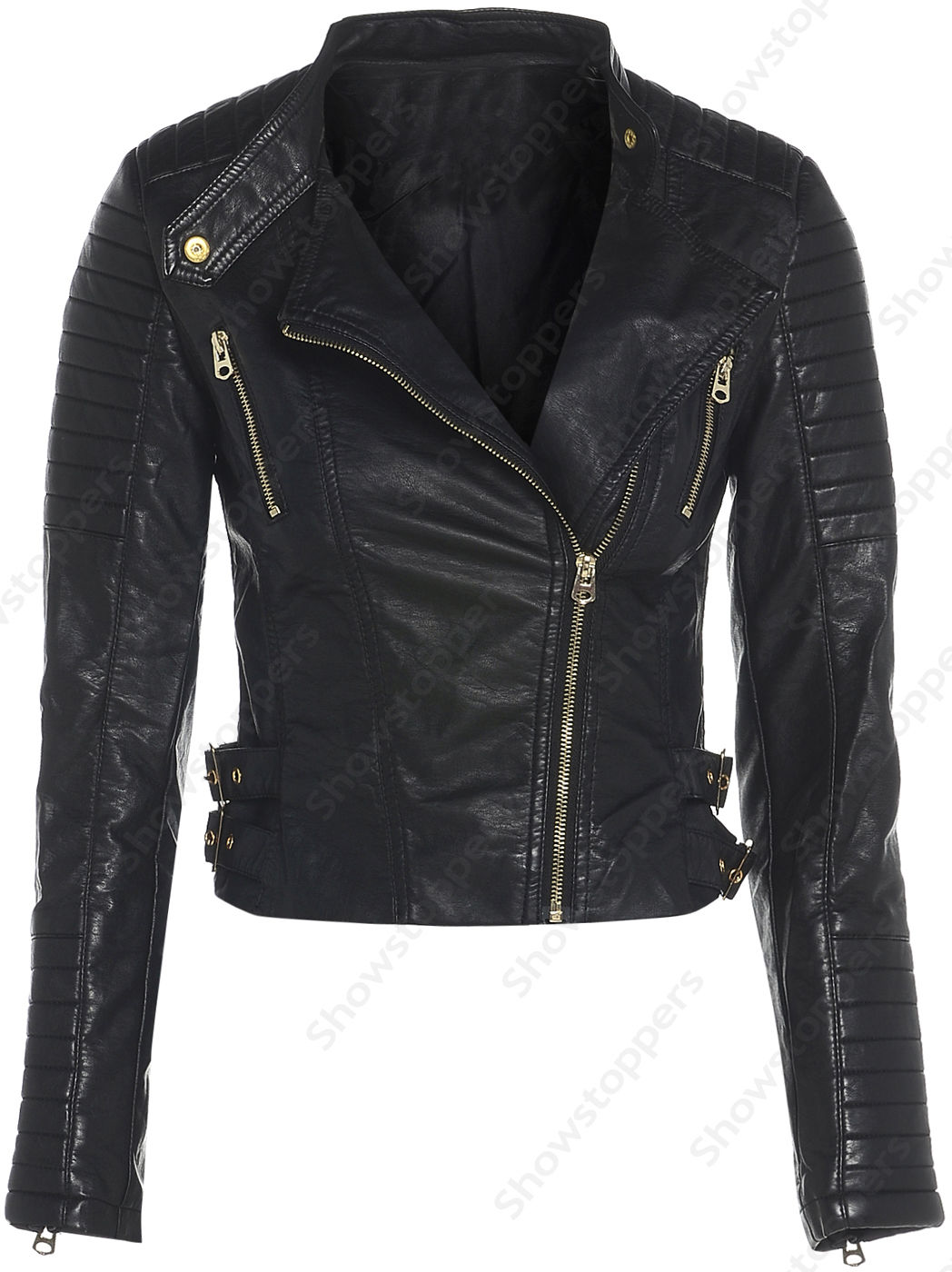 Size 8 10 12 14 16 NEW Womens BIKER JACKET Crop FAUX LEATHER Ladies ZIP Coat | eBay