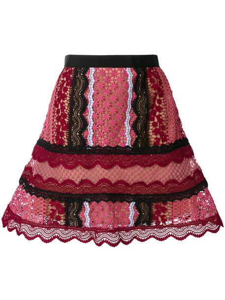 self-portrait skirt lace skirt women lace purple pink