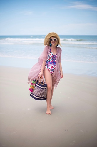 something delightful blogger swimwear hat shoes sunglasses jewels bag