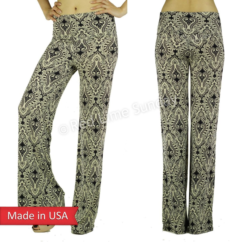 New Taupe Baroque Ethcin Print Boho Wide Leg Fold Over Palazzo Pants Bottoms USA