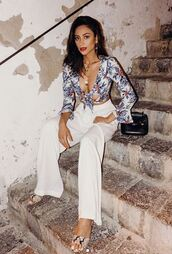 blouse,top,crop tops,wrap top,shay mitchell,instagram,celebrity,wide-leg pants,pants,summer outfits