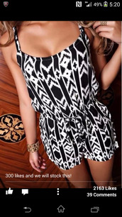 dress,aztec playsuit,jumpsuit,tribal pattern,romper,summer outfits,shorts,black and white,printed romper,black and white romperr