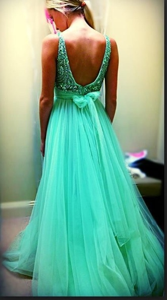 dress prom dress prom gown sequin dress sherri hill green dress evening dress backless dress long prom dress long dress low back dress bow back dress greenish embellished blue teal bow in back tulle bottom v back 2 straps pretty tulle skirt waist tulle dress flowy dress lime green dress aqua dress blue dress cute dress pinterest