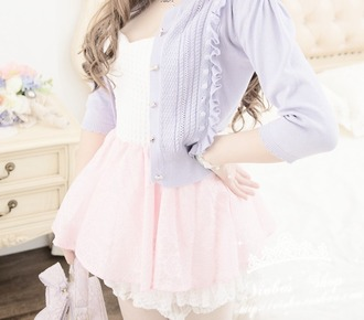 cardigan pastel purple ruffle blouse skirt sweetheart neckline pastel pink skirt kawaii
