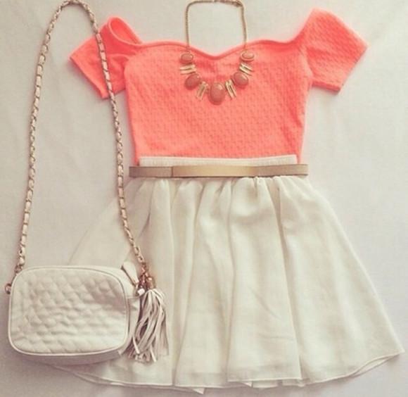 summer outfits bag shoulder bag chain bag top clothes crop tops coral