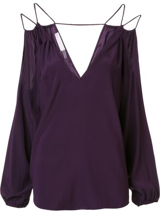 blouse women spandex cold silk purple pink top