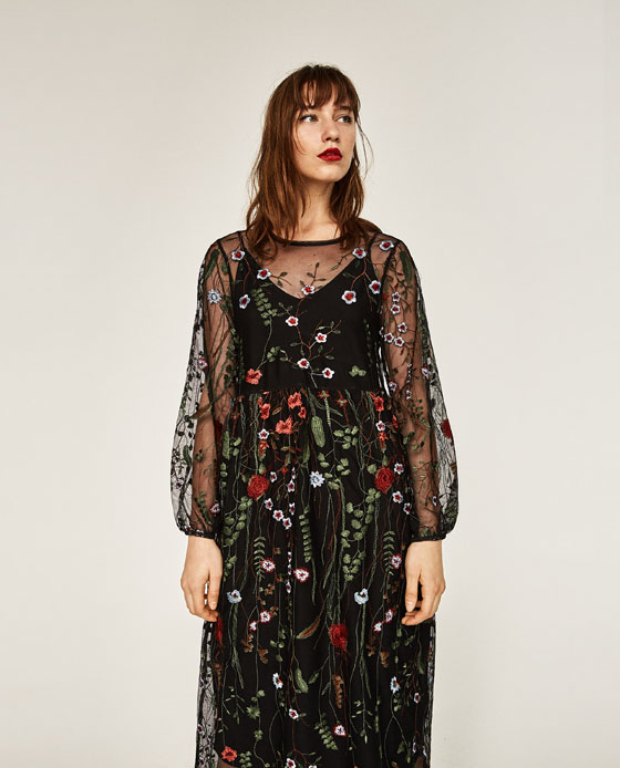 Long Floral Embroidered Dress Dresses Woman Zara