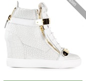 shoes,guiseppe zanotti,white leather,sexy wedge sneakers,jennifer lopez