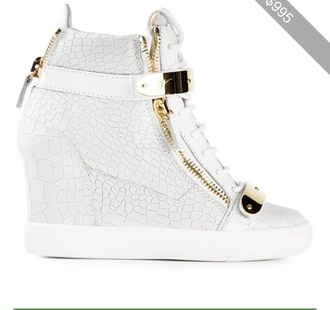 shoes guiseppe zanotti white leather sexy wedge sneakers jennifer lopez