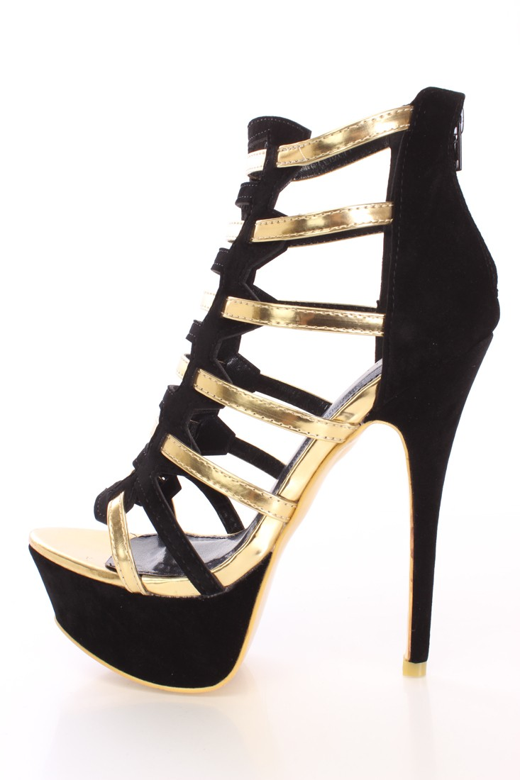 Black metallic strappy high heels faux suede