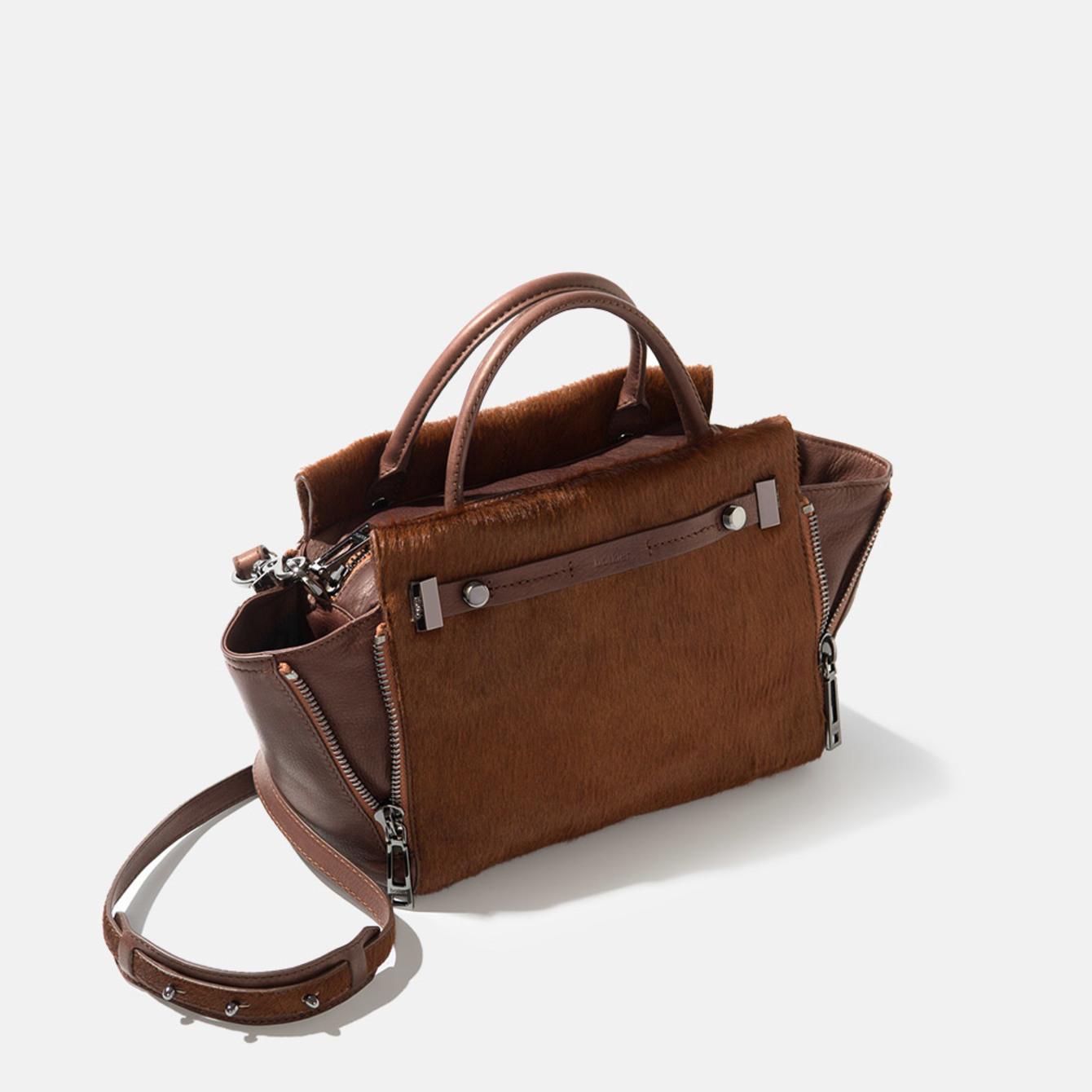 Designer leather satchel