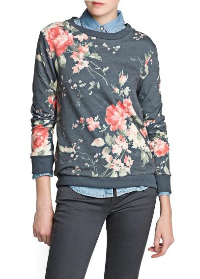 MANGO - CLOTHING - SWEATSHIRTS - Floral print sweater