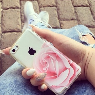 phone cover iphone flowers pink white iphone 5c cover