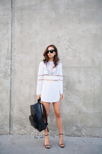 fashion toast blogger white dress leather backpack shift dress bag