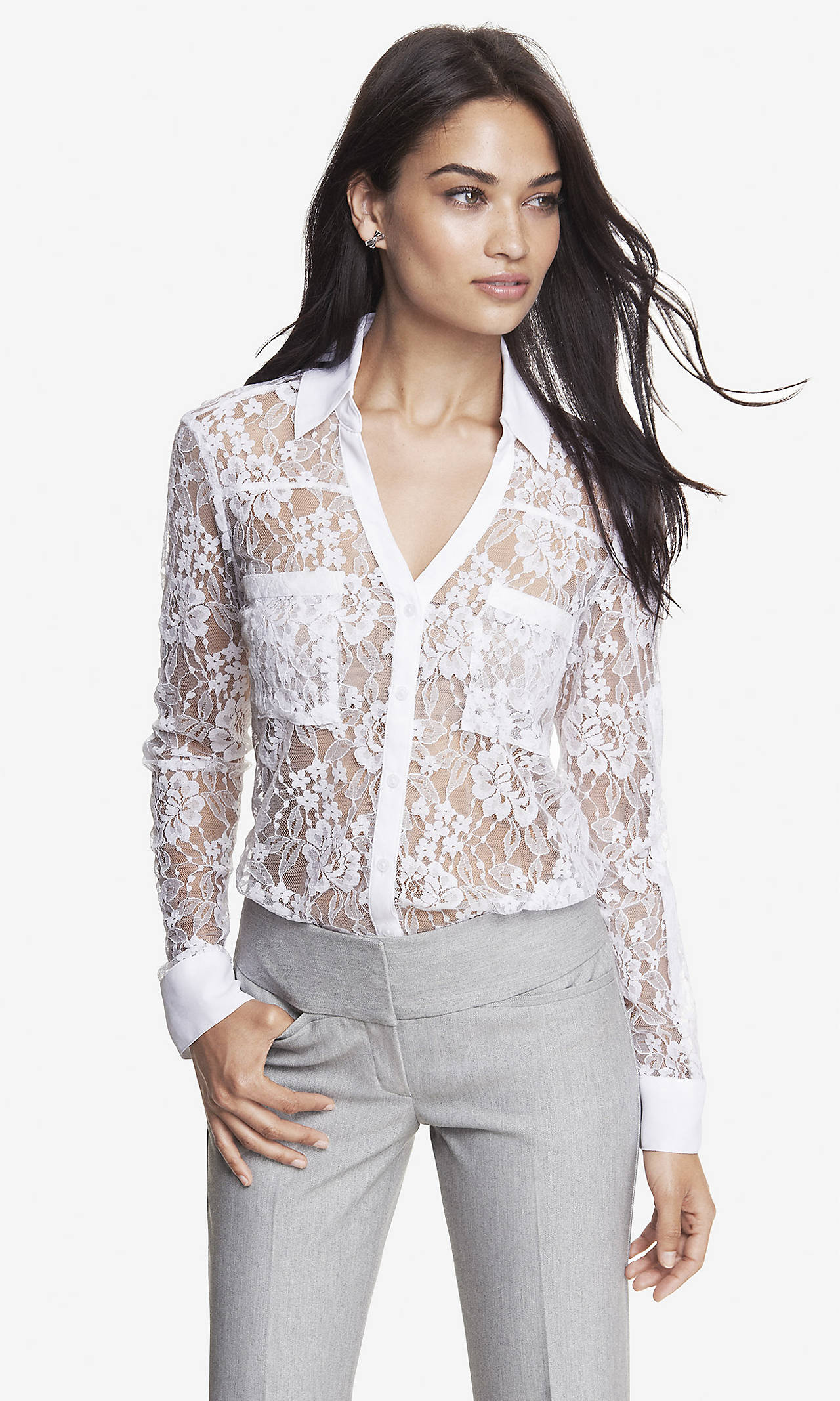 Victorian lace convertible sleeve portofino shirt from express