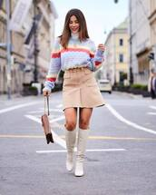 sweater,knit,knitted sweater,stripes,mini skirt,skirt,boots