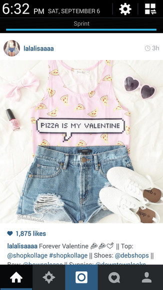 hipster spring summer outfits valentines day indie soft grunge hippie vintage sunglasses hair accessories bows pizza valentines day shirt High waisted shorts