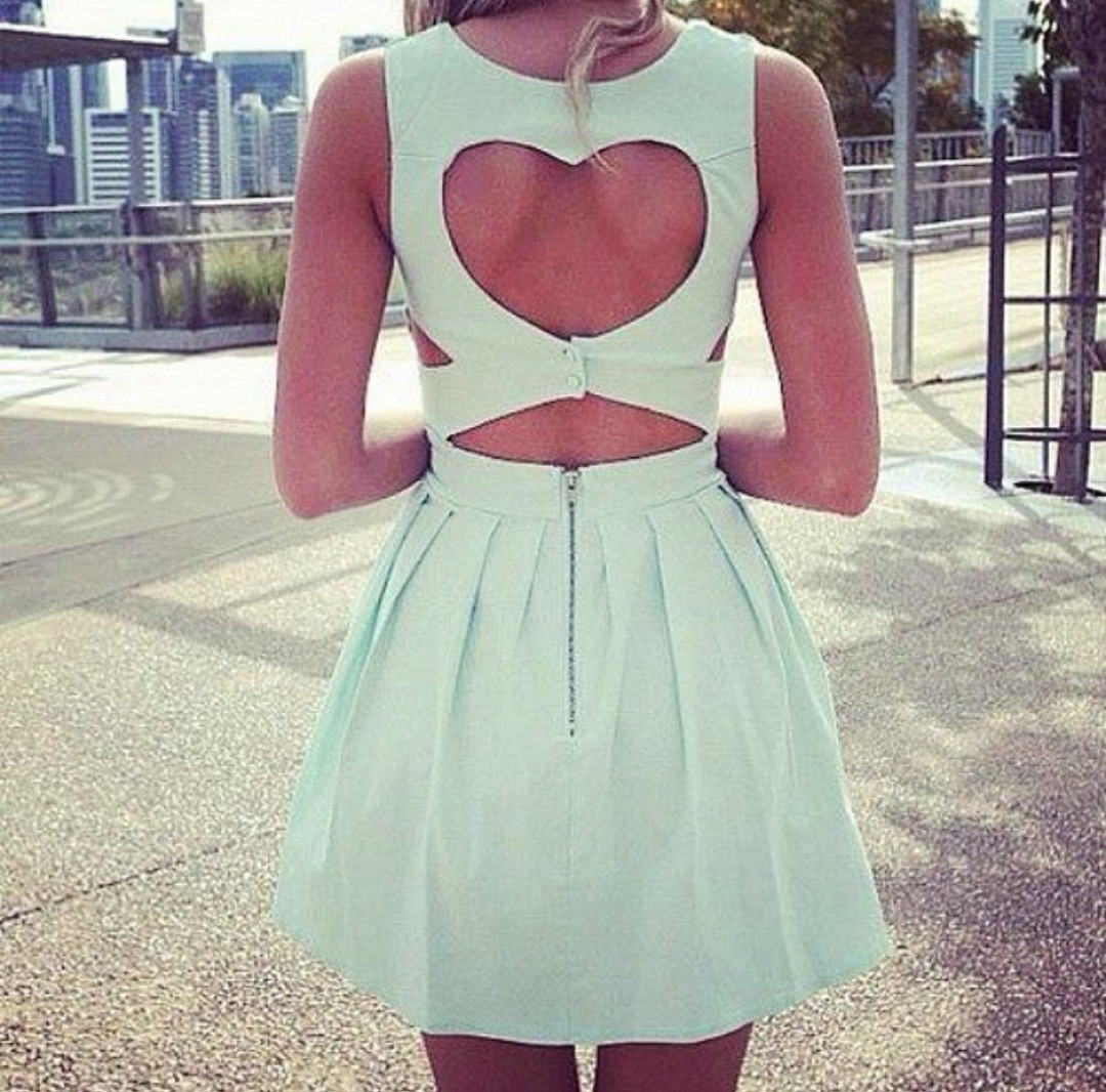 dress mint dress open back heart