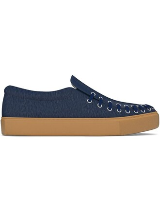 hair women sneakers leather blue shoes