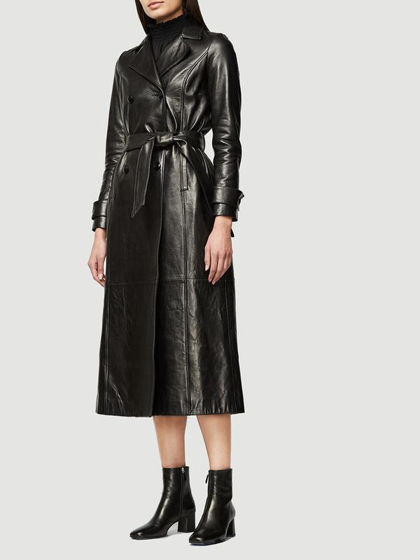 Leather Trench--NOIR