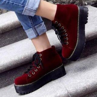 Fleece-Lined Platform Ankle Boots - Mancienne | YESSTYLE