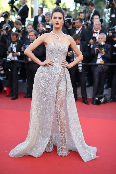 Dress gown prom dress slit dress pants sparkly dress prom gown alessandra ambrosio - Silver red carpet dresses ...