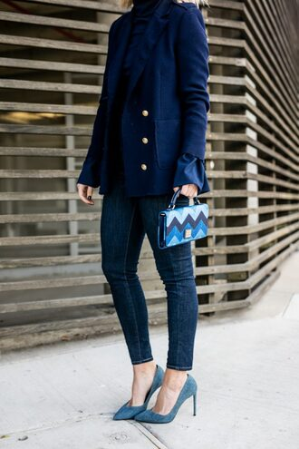 the courtney kerr blogger bag jeans sunglasses jacket blue bag blue coat skinny jeans blue heels high heel pumps