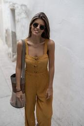 ms treinta,blogger,jumpsuit,shoes,bag,yellow jumpsuit,fringed bag,summer outfits