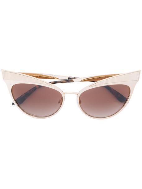 Dolce & Gabbana Eyewear - classic cat-eye sunglasses - women - Acetate/Metal (Other) - 57, Yellow/Orange, Acetate/Metal (Other)