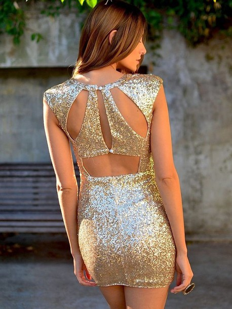Dress: sequin dress, gold sequins, new year's eve - Wheretoget