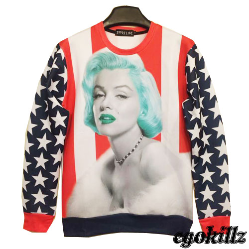 Aliexpress.com : Buy Free shipping 2014 American flag female portrait head thin sweater MSGM hip hop fashion from Reliable sweater heart suppliers on ED FASHION.