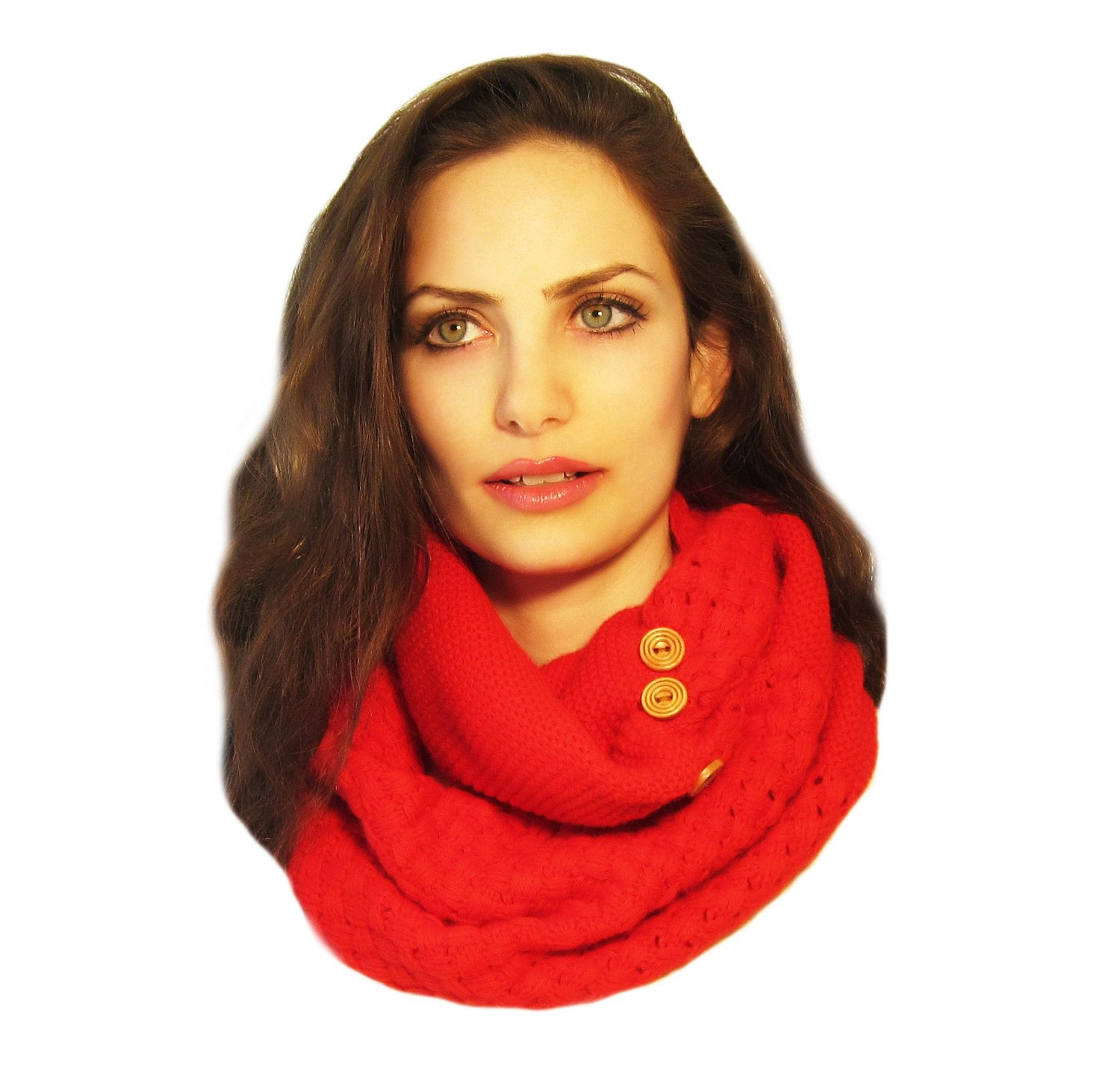 Infinity Scarf, Chunky Scarf, Knit Infinity Scarf, Loop Scarf, Circle Scarf: Red Wooden Buttons (Just buttons) at Amazon Women's Clothing store: