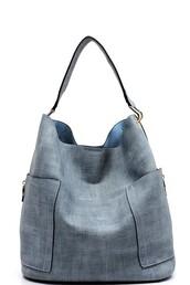 bag,chambray,denim,blue,handbag,purse,zip,gold
