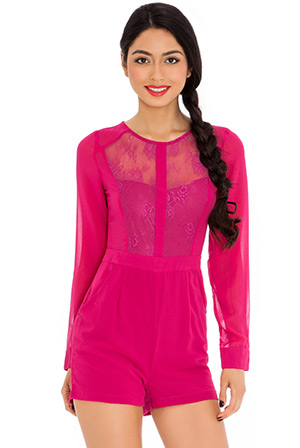Long Sleeved Lace Front Play Suit