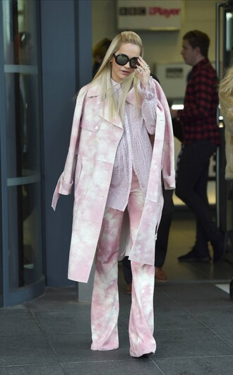 pink coat pants rita ora fall outfits