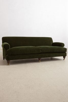 Velvet Willoughby Sofa, Hickory