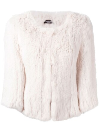 jacket fur jacket short fur purple pink
