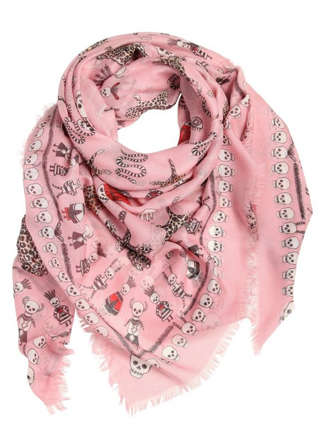 Alexander Mcqueen skull scarf silk light pink light pink