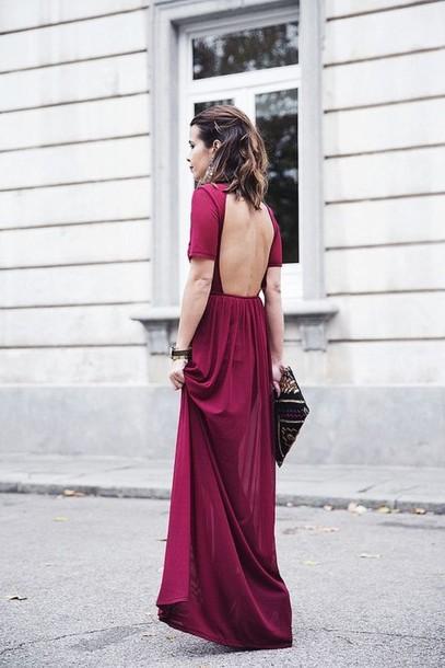 dress wine red long formal purple dress open back prom dress burgundy dress burgundy long backless short sleeve dress deep red backless maxi red dress backless dress vintage dress