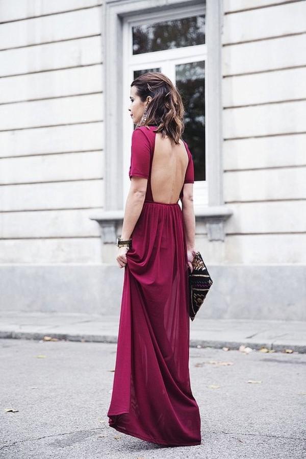 dress wine red long formal purple dress open back prom dress burgundy dress burgundy