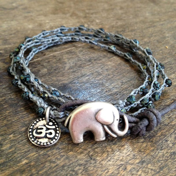Elephant Rustic Silver Om Knotted Multi Wrap by TwoSilverSisters