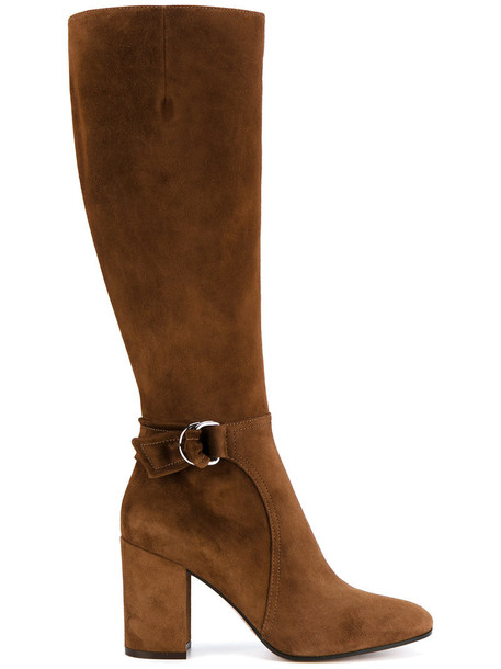 Gianvito Rossi women buckle boots leather suede brown shoes