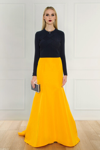skirt silk yellow