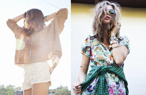 nasty gal lookbook crochet nasty gal lookbook sweater stacked bracelets stacked jewelry shorts jewels dress floral floral print dress mixed prints mixed prints look stacked bangles handpiece 90's grunge girly grunge crosses cross jewelry shirt